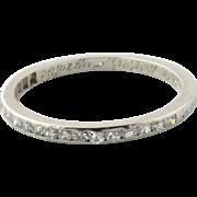 SALE Vintage Platinum Diamond Wedding Band Dated 1932, Size 6.5