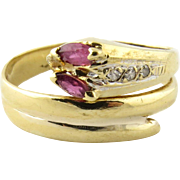 SALE Vintage 18K Yellow Gold Diamond Back Snake Ring with Ruby Eyes Ring, Size 6.5