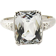 Vintage Art Deco Light Aquamarine 14K White Gold Ring, Size 6.25