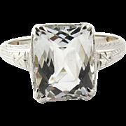 SALE Vintage Art Deco Light Aquamarine 14K White Gold Ring, Size 6.25