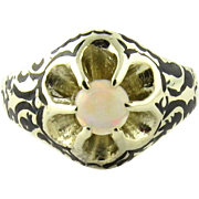 Vintage 14K Yellow Gold Opal Floral Ring Size 7.75 Black Antiquing