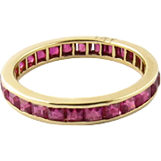 SALE Vintage 14K Yellow Gold Synthetic Ruby Eternity Band Ring Size 6