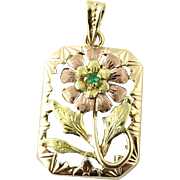 SALE JACCO Vintage 14K Yellow and Rose Gold Floral Pendant with Emerald
