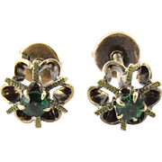 Antique 14K Yellow Gold and Emerald Floral Screw Back Earrings