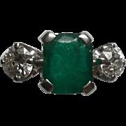Vintage Platinum Emerald and Diamonds Ring Size 6.25 European Cut Diamonds