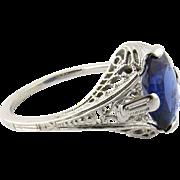 SALE Antique 18K White Gold Art Deco Genuine Oval Sapphire Filigree Ring Size 4.75