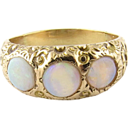 Vintage 14K Yellow Gold and Genuine Opal Floral Motif Ring Size 6.25