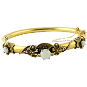Vintage 14K Yellow Gold Opal and Seeded Pearl Bangle Bracelet