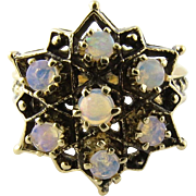 Vintage 14K Yellow Gold Opal Six Pointed Star Ring Size 6.5