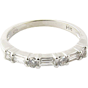 Vintage 14K White Gold Round Brilliant and Baguette Diamond Band Size 6.75