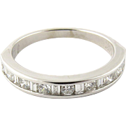 Vintage 14K White Gold Round Brilliant and Baguette Diamond Band Size 7