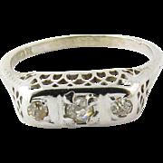 Antique 18K White Gold Filigree 3 Old Mine Diamond Ring Size 6.5