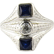 SALE Antique Edwardian 18K White Gold Diamond and Sapphire Ring Size 8