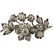 Antique Victorian 800 Silver 10K Yellow and Rose Gold Rose Cut Diamond Floral Brooch Pin