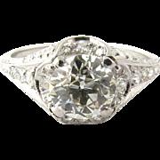 Art Deco Platinum Old Mine Diamond Ring 2.10 cts. Size 9.25