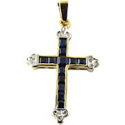 Vintage BJC 14K Yellow Gold Cross with Blue Spinel and Diamonds Pendant