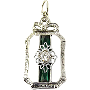 Vintage 14K White Gold Diamond and Synthetic Emerald Camphor Glass Pendant