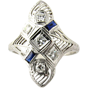 Antique Art Deco 18K White Gold Diamond and Sapphire Ring Size 8.5
