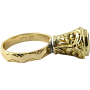 Antique Ornate 14K Yellow Gold Citrine Seal Fob Ring Size 6.75
