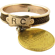 Antique Victorian 14K Yellow Gold Mourning Hair Ring with $1 Gold Coin, Size 7.5