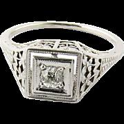 Art Deco 14K White Gold Diamond Floral Filigree Ring Size 4.75