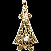 Victorian 14K Yellow Gold and Diamond Pendant
