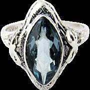 SALE Vintage 14K White Gold Blue Topaz Filagree Ring Size 9