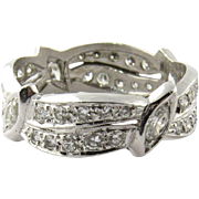 Vintage Platinum Round and Marquis Diamond Wedding Band Size 8.75