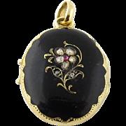 Antique Victorian 14K Yellow Gold Rose Cut Diamond Mourning Locket Pendant