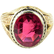 SALE Vintage Men's 14K Yellow Gold and Synthetic Ruby Ring Size 10.5
