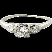 SALE Vintage 18K White Gold Diamond Engagement Ring Size 4.75