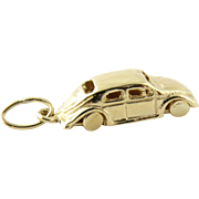 Vintage 14K Yellow Gold VW Bug Charm