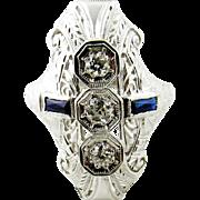 Vintage Art Deco 18K White Gold Diamond and Sapphire Ring Size 4.25