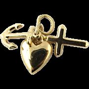 Vintage 14K Yellow Gold Faith, Hope, Love Charm - Heart, Anchor, Cross