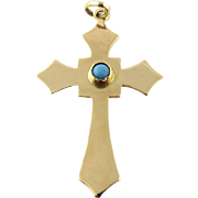 Vintage 14K Yellow Gold and Robin Egg Turquoise Cross Pendant