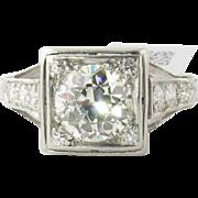 Vintage Platinum Diamond Engagement Ring European Cut Diamond 1.4 cts. Size 7