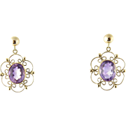 SALE Vintage 18k Yellow Gold and Amethyst Dangling Earrings