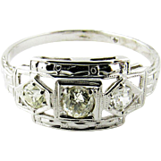 Vintage 14K White Gold Diamond Art Deco Filigree Ring Size 7.25