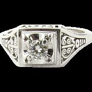 Vintage Art Deco 14K White Gold and Diamond Ring Size 5.75