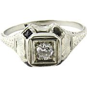 Vintage 20K White Gold Sapphire and Diamond Ring Size 7