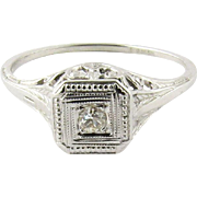 SALE Vintage 18K White Gold Diamond Milgrain Ring Size 5.75
