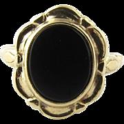 Vintage 10K Yellow Gold Framed Black Onyx Ring, Size 3