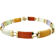 Vintage 14K Yellow Gold Multi Color Jade Bracelet