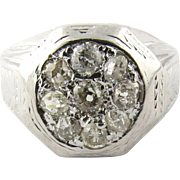 Men's Vintage Art Deco 14K White Gold Diamond Ring Size 10