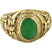 Tiffany & Co 14K Yellow Gold Jade 1931 US Naval Academy Sweetheart Ring Size 5