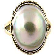 Vintage 10K Yellow Gold Blister Pearl Ring Size 5.25