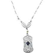 SALE Vintage 10K White Gold Filagree Chain Link Necklace with Sapphire and Pearl