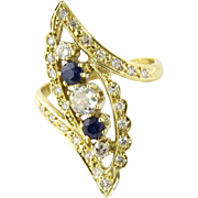 Vintage 18K Yellow Gold Diamond Sapphire Ring Size 7