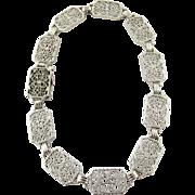 SALE Vintage Art Deco 14K White Gold Filigree Bracelet