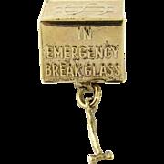 In Emergency Break Glass Vintage 14K Mad Money Charm